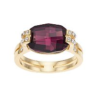 Brilliance 14k Gold Plated Ring with Swarovski Crystals