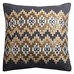 Rizzy Home Ikat Chevron Embroidered Throw Pillow
