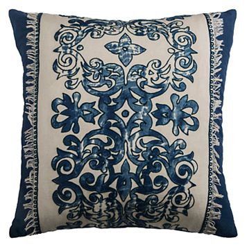 Rizzy Home Floral Print Applique Embroidered Throw Pillow