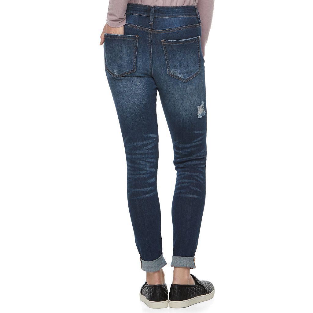 Juniors' Mudd® Destructed Cuffed Skinny Jeans
