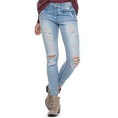 Juniors' Mudd® Destructed Cuffed Skinny Jeans