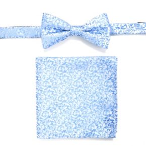 Men's Apt. 9® Geometric Pre-Tied Bow Tie & Solid Pocket Square Set