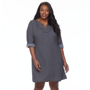 Plus Size Dana Buchman Roll-Tab Utility Shirt Dress