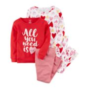 "Toddler Girl Carter's 4-pc.""All You Need Is Love"" Hearts Pajamas Set"