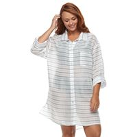 Plus Size Apt. 9® Roll-Tab Shirt Cover-Up