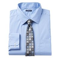 Big & Tall Croft & Barrow® Classic-Fit Striped Dress Shirt and Patterned Tie Boxed Set