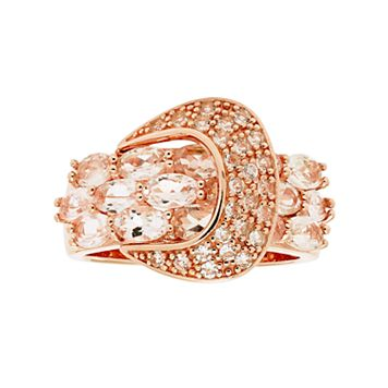 14k Rose Gold Over Silver Morganite & White Zircon Buckle Ring