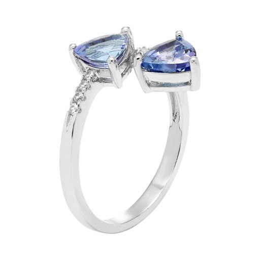 Sterling Silver Tanzanite & White Zircon Bypass Ring