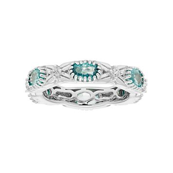 Sterling Silver Blue & White Zircon Textured Eternity Ring