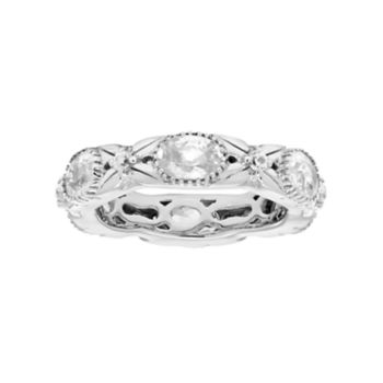 Sterling Silver White Zircon Textured Eternity Ring