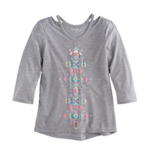 Girls 7-16 Mudd® 3/4-Sleeve Cutout Printed Tee