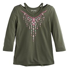 Girls 7-16 Mudd® 3/4-Sleeve Cutout Printed Tee