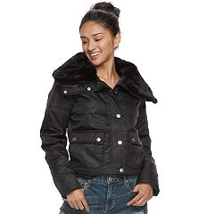 Juniors' Urban Republic Faux-Fur Trim Crop Puffer Jacket