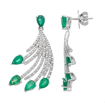 Sterling Silver Emerald & White Zircon Fan Drop Earrings