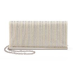 Lenore by La Regale Simulated Pearl & Rhinestone Flap Clutch