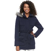 Juniors' Urban Republic Faux-Fur Hood Fleece Coat