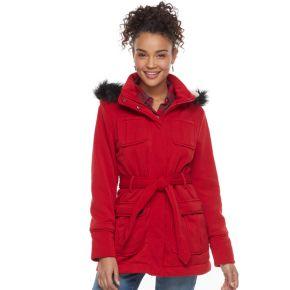 Juniors' Urban Republic Faux-Fur Hood Fleece Coat