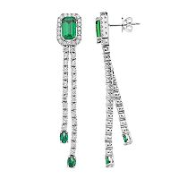 Sterling Silver Chrome Diopside & White Zircon Dangle Drop Earrings
