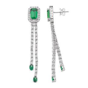 Sterling Silver Chrome Diopside & White Zircon Dangle Drop Earrings