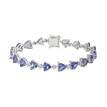 Sterling Silver Tanzanite & White Zircon Tennis Bracelet