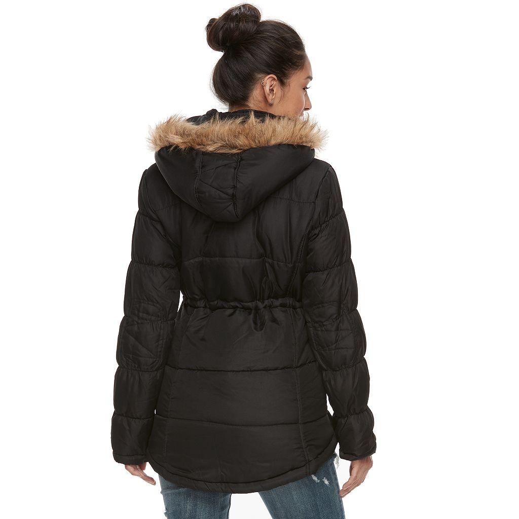 Juniors' Urban Republic Faux-Fur Hood Puffer Anorak Jacket