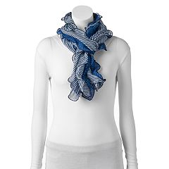 Women's Chaps Stripes & Dots Double Ruffle Scarf