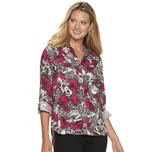 Women's Rock & Republic® Drapey Roll Cuff Shirt