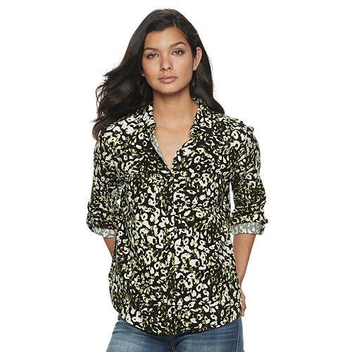Women's Rock & Republic® Drapey Roll Cuff Shirt