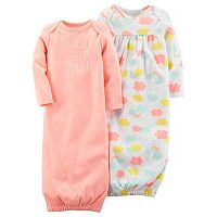 Baby Girl Carter's 2-pk. Cloud Print & Graphic Sleeper Gowns