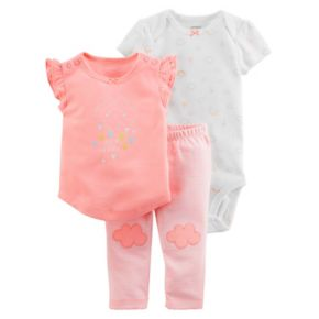 "Baby Girl Carter's Print Bodysuit, ""So Happy"" Graphic Tee & Striped Pants Set"