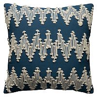 Rizzy Home Frayed Chevron Corded Embroidered Throw Pillow