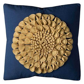 Rizzy Home Floral Motif Applique Throw Pillow