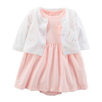 Baby Girl Carter's Striped Bodysuit Dress & Cardigan Set