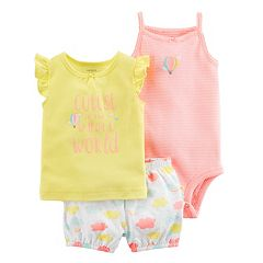 Baby Girl Carter's Striped Bodysuit, Graphic Tee & Cloud Bubble Shorts Set