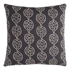 Rizzy Home Leaves in a Line Tape Embroidered Throw Pillow