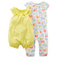 Baby Girl Carter's Cloud Jumpsuit & Polka-Dot Romper Set