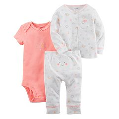 Baby Girl Carter's 'So Happy' Bodysuit, Cloud Cardigan & Pants Set