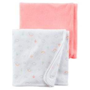 Baby Girl Carter's 2-pk. Cloud Print & Solid Swaddles