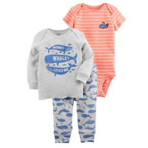 """Baby Boy Carter's """"Mommy Whaley Loves Me"""" Tee, Striped Bodysuit & Whale Pants Set"""
