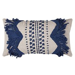 Rizzy Home Zig Zag Stripe Applique Oblong Throw Pillow