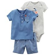 Baby Boy Carter's '1st Mate' Graphic Bodysuit, Embroidered Henley & Striped Shorts Set