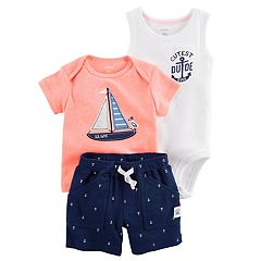 Baby Boy Carter's 'Cutest Dude Ever' Bodysuit, Embroidered Sailboat Tee & Anchor Print Shorts