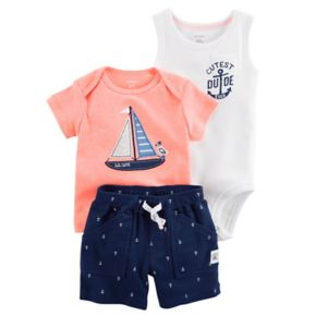 """Baby Boy Carter's """"Cutest Dude Ever"""" Bodysuit, Embroidered Sailboat Tee & Anchor Print Shorts"""