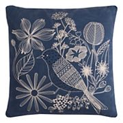 Rizzy Home Floral Bird Chain Stitch Throw Pillow