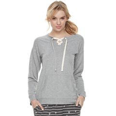 Women's SONOMA Goods for Life™ Pajamas: Lace-up Sweatshirt