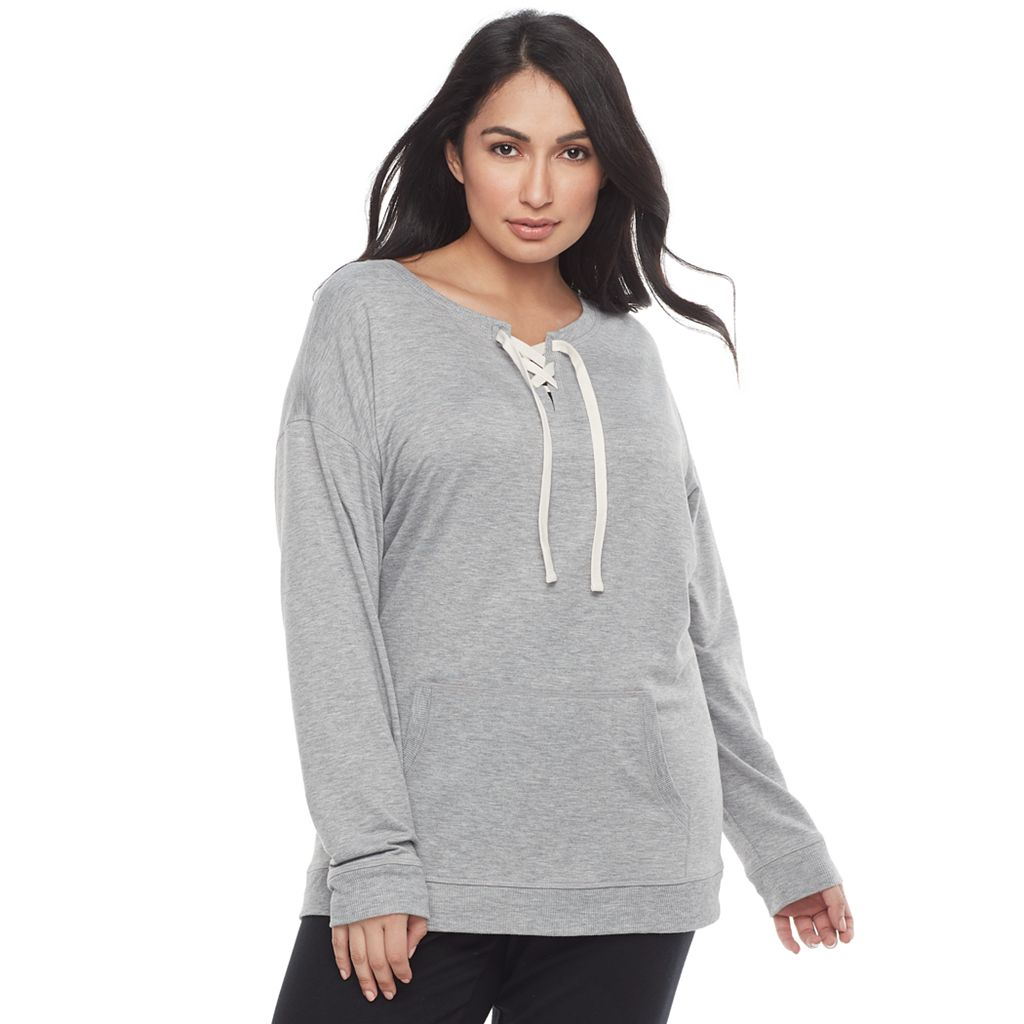 Plus Size SONOMA Goods for Life™ Lace-Up Sleep Sweatshirt