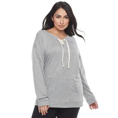 Plus Size SONOMA Goods for Life™ Lace-Up Sleep Sweatshirt