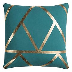 Rizzy Home Rachel Kate Geometric I Foil Printed Throw Pillow