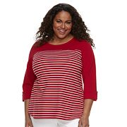 Plus Size Croft & Barrow® Button-Accent Pique Top