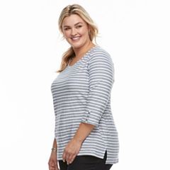 Plus Size Croft & Barrow® Button Sleeve Top